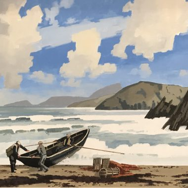 John Skelton Blasket Island Wave Oil On Canvas (1923-2009)