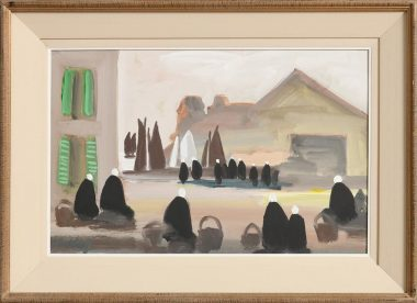 ARTIST:MARKEY ROBINSON (1918-1999)TITLE:Awaiting the Arrival of the CatchSIGNATURE:signed lower leftMEDIUM:gouache on boardSIZE:32 x 50cm (12.6 x 19.7in)FRAMED SIZE:47 x 64cm (18.5 x 25.2in) PROVENANCE:Acquired directly from the artist by the present owner
