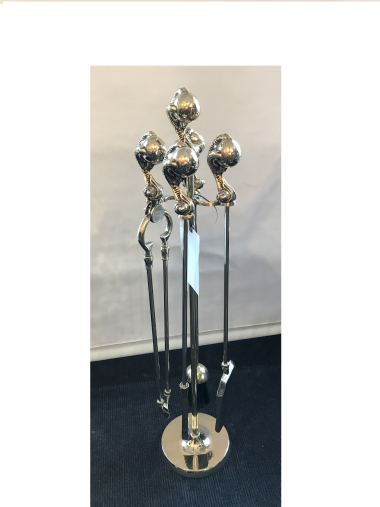 Set of 4 Brass Fire Irons On Stand