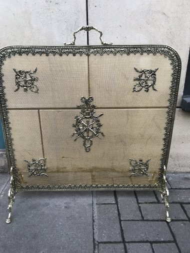 Antique gilt brass fire screen, Louis XVI style, 19th c.
