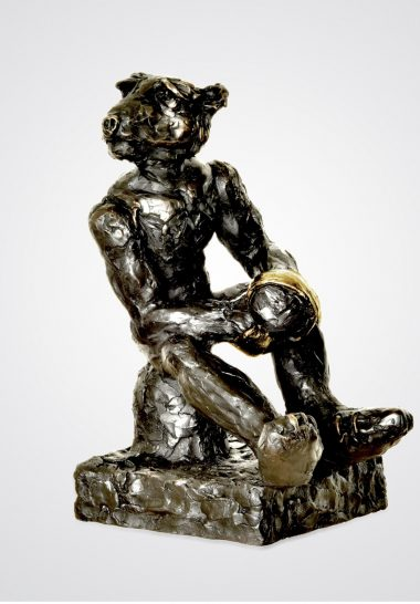 PATRICK O'REILLY Resting Boxer, 2017 Bronze, 24 carat gold leaf 40 x 28 x 25 cm 15 3/4 x 11 x 9 7/8 inches