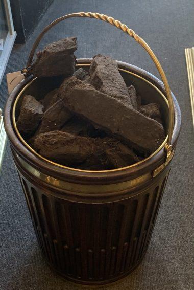 "A pair 20th century Georgian style Gothic brassbound Pete buckets with swing brass handles, Hight 21"" wigh 16"""