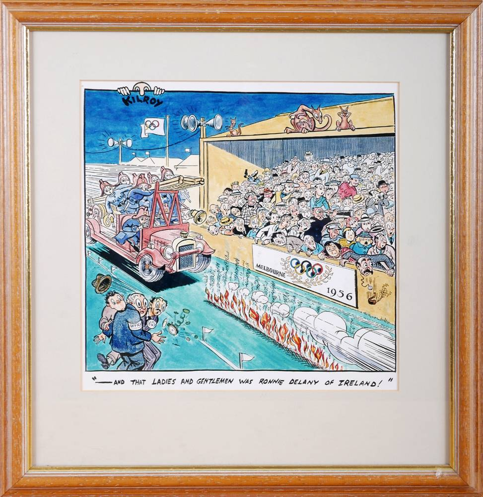 Micheál Ó Nualláin cartoon of Ronnie Delaney's victory in the mile at the Melbourne Olympics.